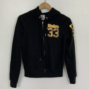 PINK VS Hoodie Jacket Full Zipper Black Sz: L